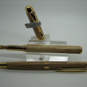 English Oak Executive Fountain Pen and Pencil Set