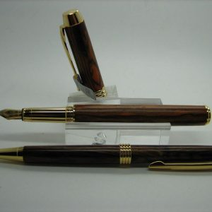 King Cocobolo Executive Fountain Pen and Pencil Set