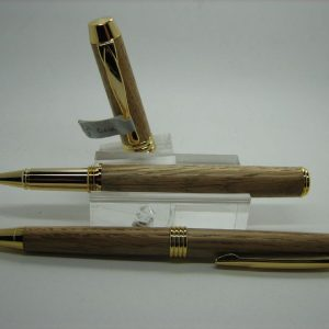 English Oak Executive Rollerball Pen and Pencil Set